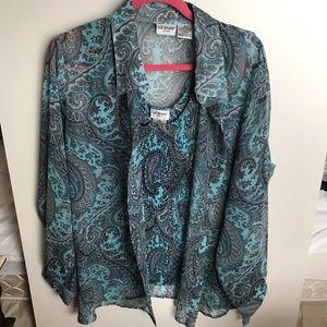 LizBaker blue Paisley blouse with matching tanking